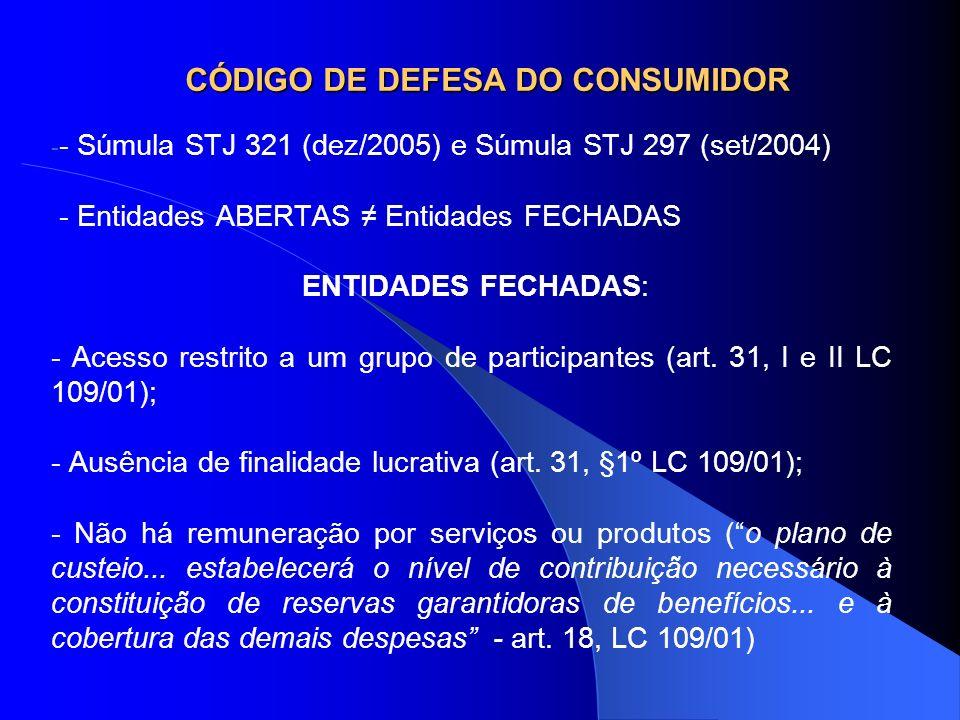 CÓDIGO DE DEFESA DO CONSUMIDOR - - Súmula STJ 321 (dez/2005) e Súmula STJ 297 (set/2004) - Entidades ABERTAS Entidades FECHADAS ENTIDADES FECHADAS: -