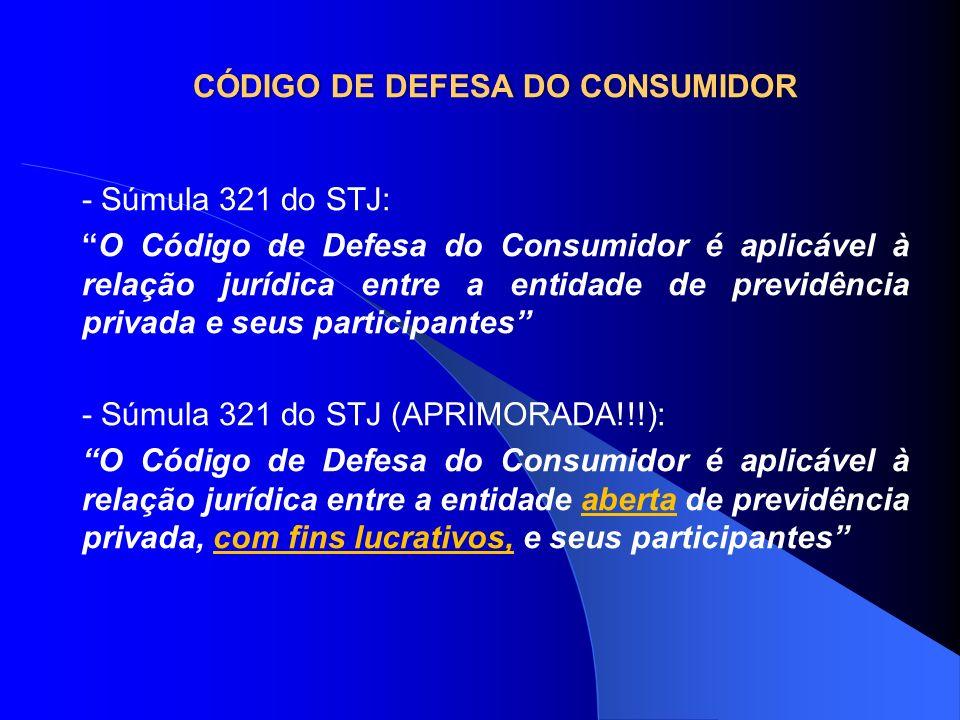 CÓDIGO DE DEFESA DO CONSUMIDORCÓDIGO DE DEFESA DO CONSUMIDOR - Súmula 321 do STJ: O Código de Defesa do Consumidor é aplicável à relação jurídica entr