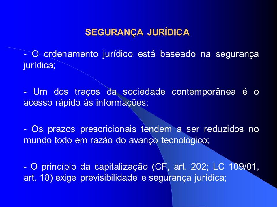 SEGURANÇA JURÍDICA - O ordenamento jurídico está baseado na segurança jurídica; - Um dos traços da sociedade contemporânea é o acesso rápido às inform