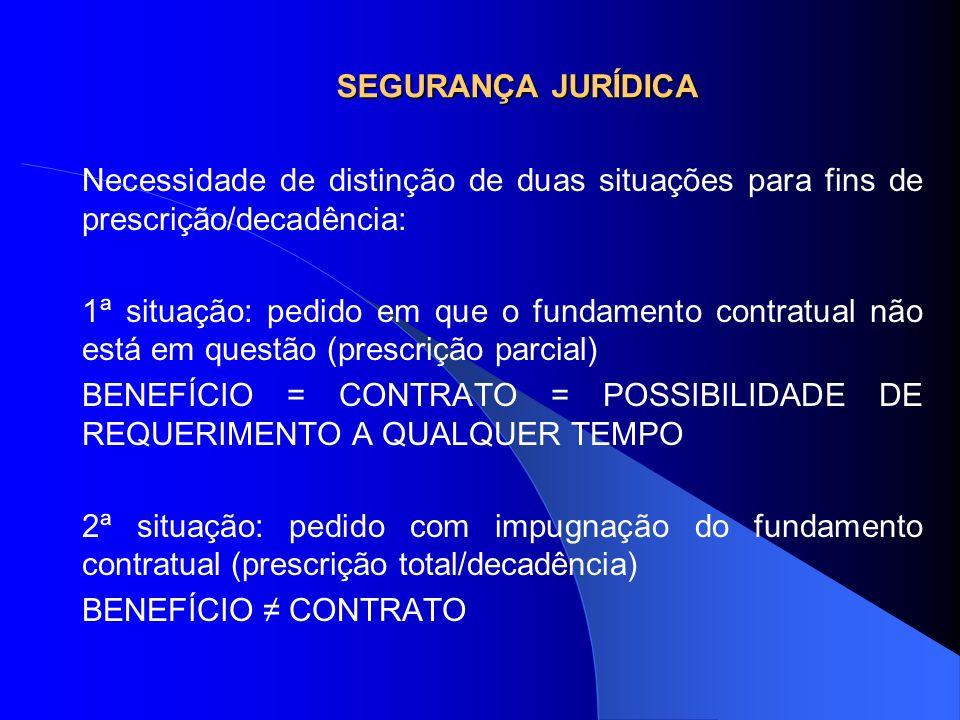 SEGURANÇA JURÍDICA Necessidade de distinção de duas situações para fins de prescrição/decadência: 1ª situação: pedido em que o fundamento contratual n
