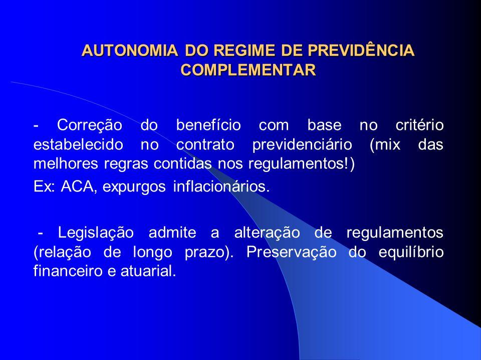 AUTONOMIA DO REGIME DE PREVIDÊNCIA COMPLEMENTAR - Correção do benefício com base no critério estabelecido no contrato previdenciário (mix das melhores