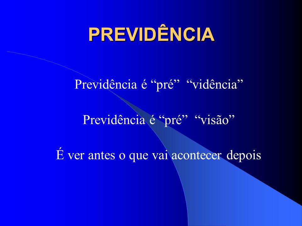 PREVIDÊNCIA Previdência é pré vidência Previdência é pré visão É ver antes o que vai acontecer depois