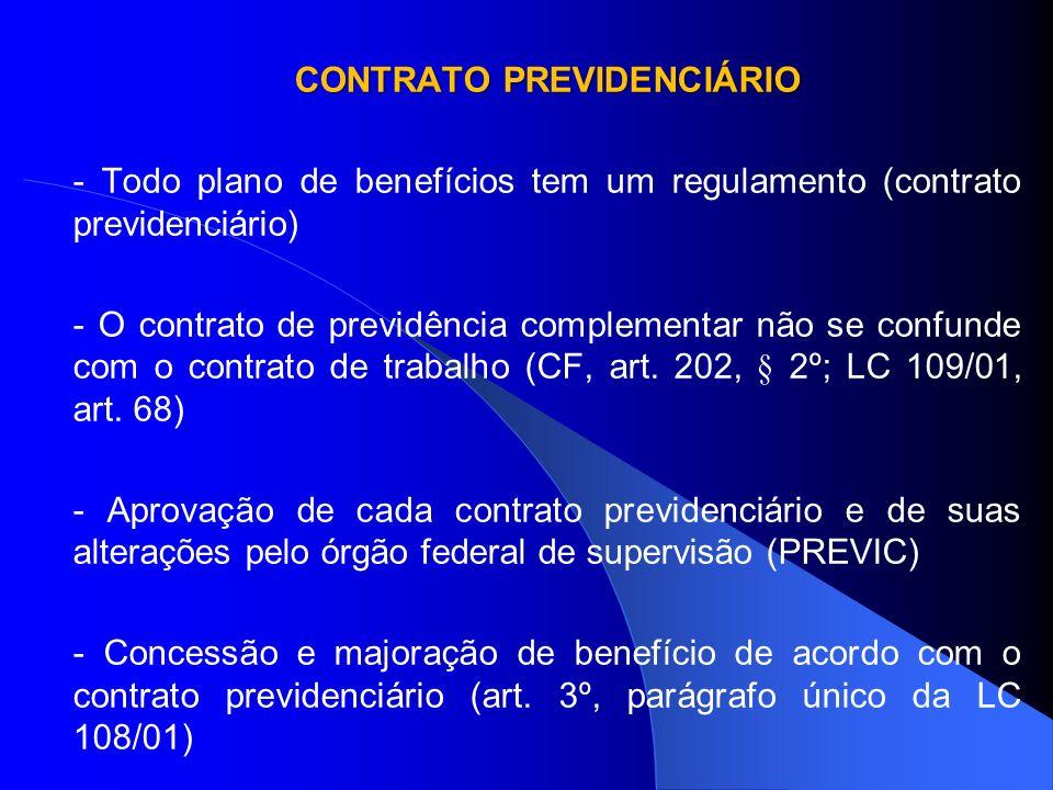 CONTRATO PREVIDENCIÁRIO LEI COMPLEMENTAR 108/01 Art.