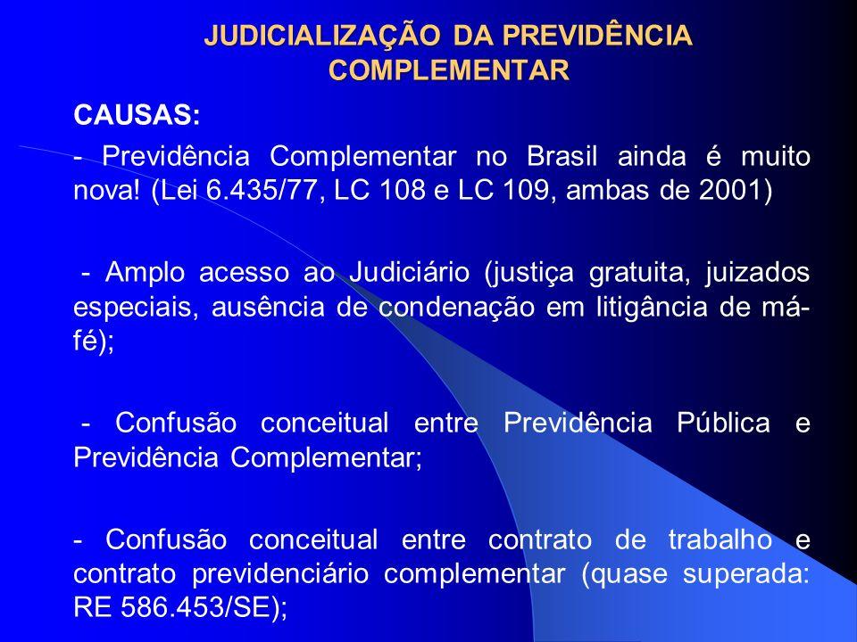 JUDICIALIZAÇÃO DA PREVIDÊNCIA COMPLEMENTAR CAUSAS: - Previdência Complementar no Brasil ainda é muito nova! (Lei 6.435/77, LC 108 e LC 109, ambas de 2