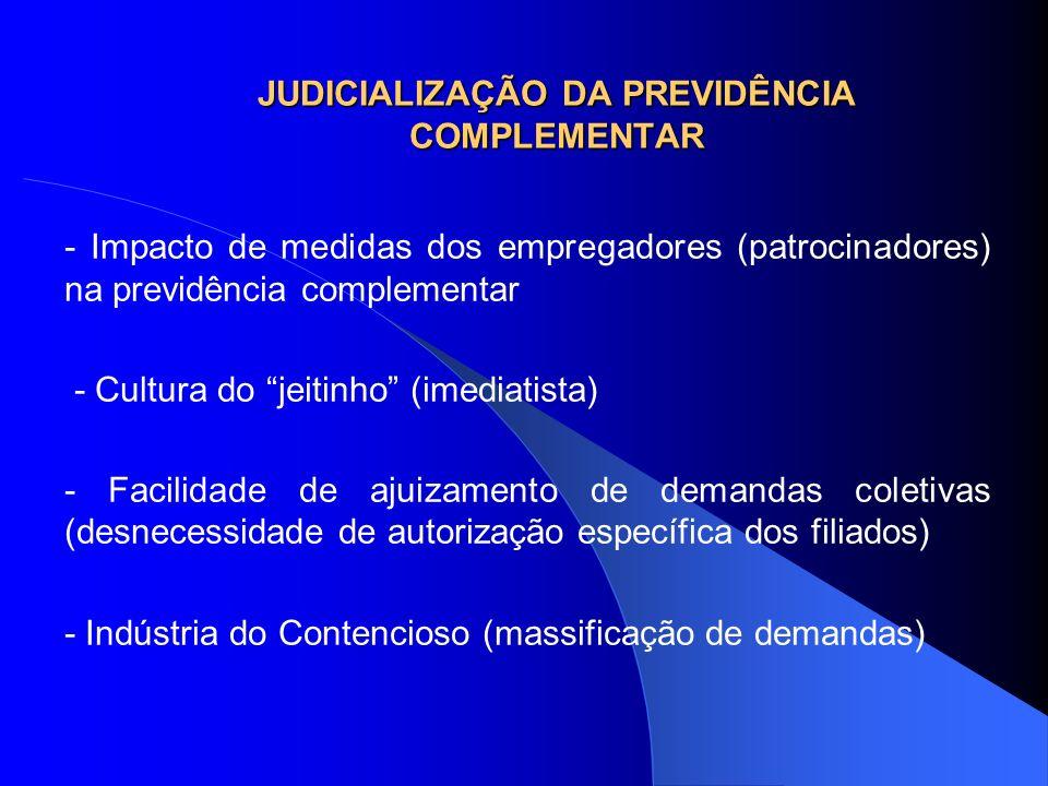 JUDICIALIZAÇÃO DA PREVIDÊNCIA COMPLEMENTAR - Impacto de medidas dos empregadores (patrocinadores) na previdência complementar - Cultura do jeitinho (i