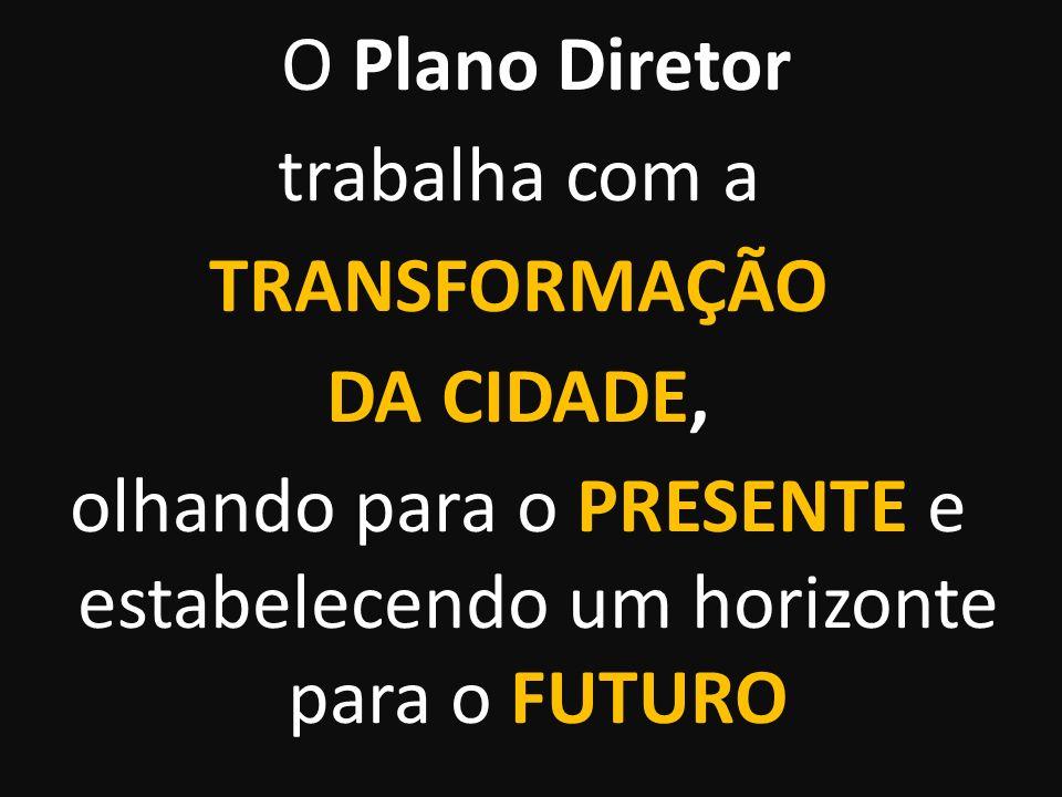 O Plano Diretor trabalha com a TRANSFORMAÇÃO DA CIDADE, olhando para o PRESENTE e estabelecendo um horizonte para o FUTURO