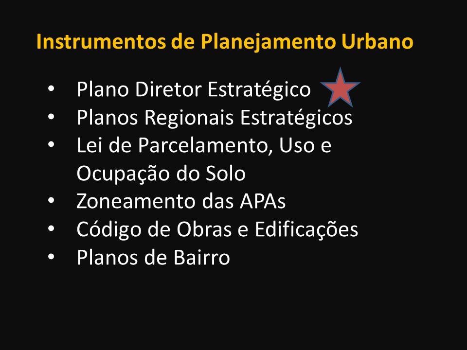 Instrumentos de Planejamento Urbano Plano Diretor Estratégico Planos Regionais Estratégicos Lei de Parcelamento, Uso e Ocupação do Solo Zoneamento das