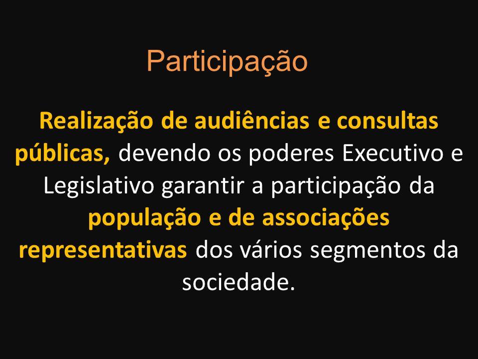 Realização de audiências e consultas públicas, devendo os poderes Executivo e Legislativo garantir a participação da população e de associações repres