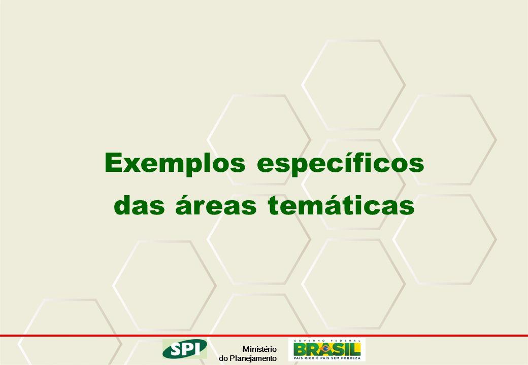 Ministério do Planejamento Exemplos específicos das áreas temáticas