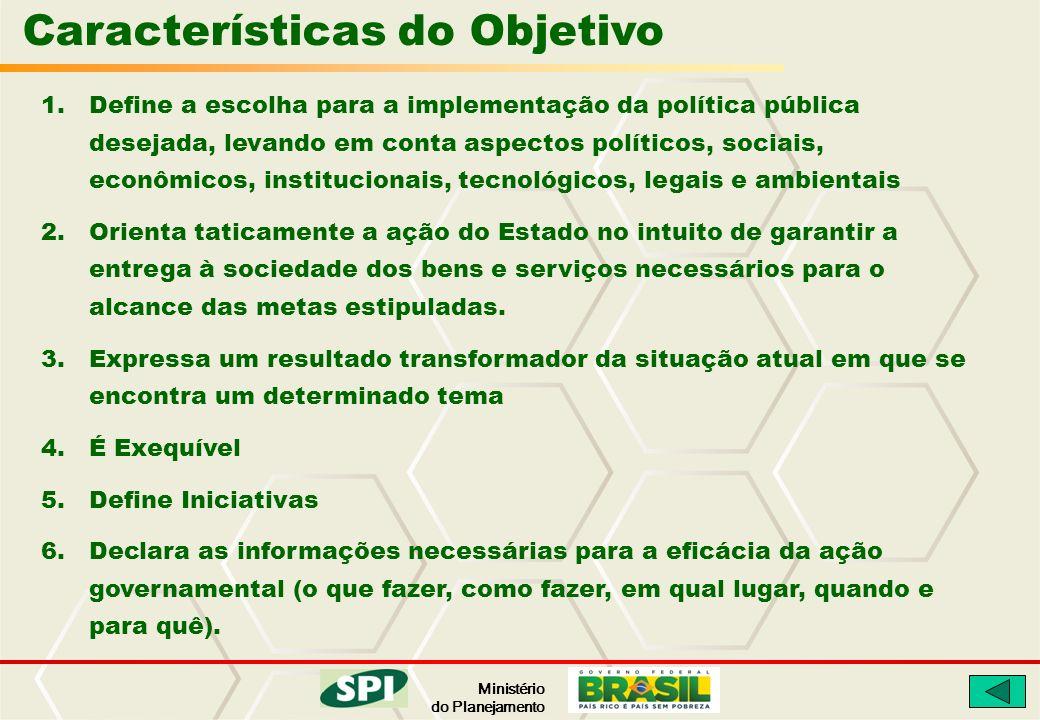 Ministério do Planejamento Características do Objetivo 1.Define a escolha para a implementação da política pública desejada, levando em conta aspectos