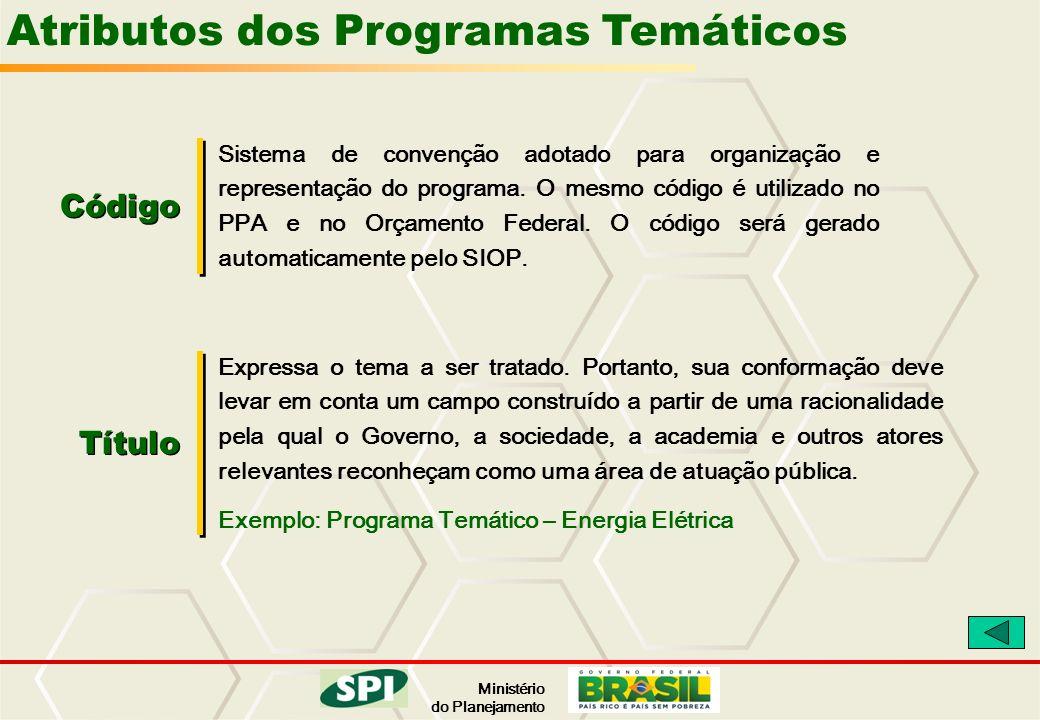Ministério do Planejamento Atributos dos Programas Temáticos Código Sistema de convenção adotado para organização e representação do programa. O mesmo