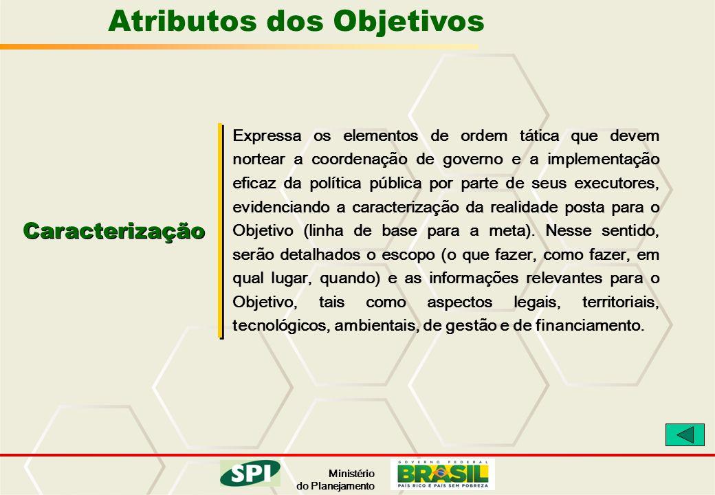 Ministério do Planejamento Atributos dos Objetivos Caracterização Expressa os elementos de ordem tática que devem nortear a coordenação de governo e a