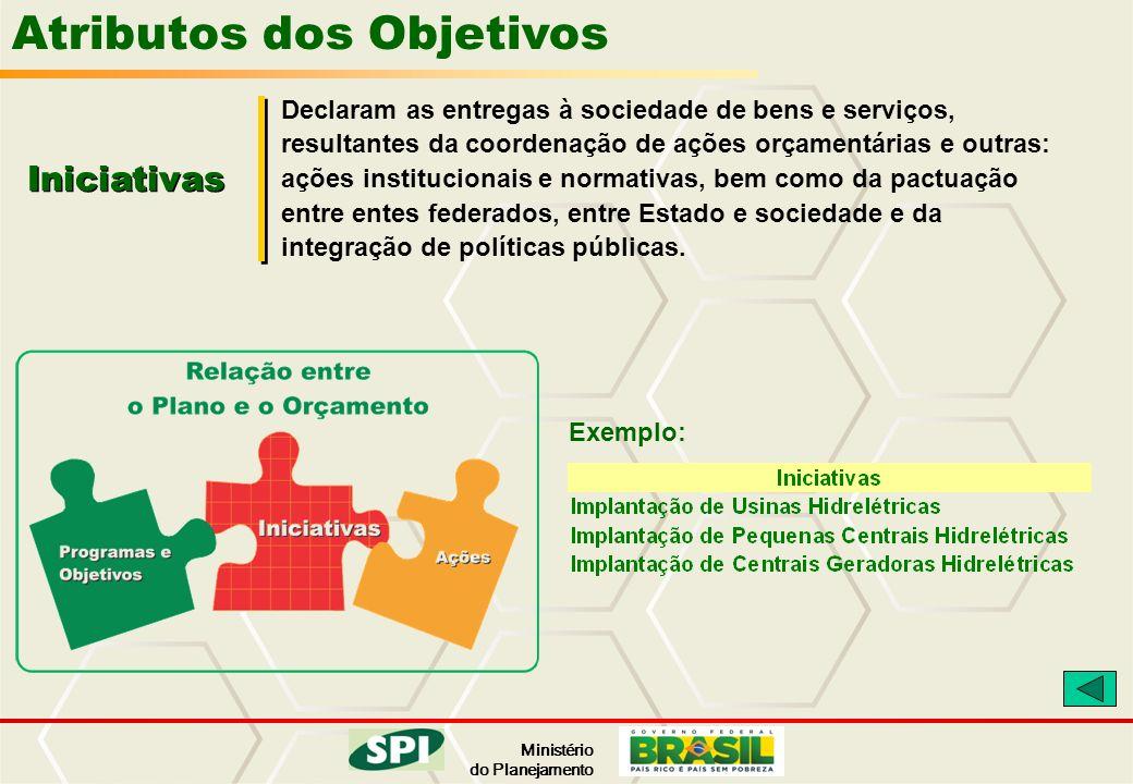 Ministério do Planejamento Atributos dos Objetivos Iniciativas Declaram as entregas à sociedade de bens e serviços, resultantes da coordenação de açõe