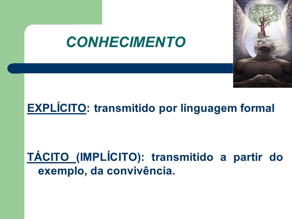 CONHECIMENTO EXPLÍCITO: transmitido por linguagem formal TÁCITO (IMPLÍCITO): transmitido a partir do exemplo, da convivência.