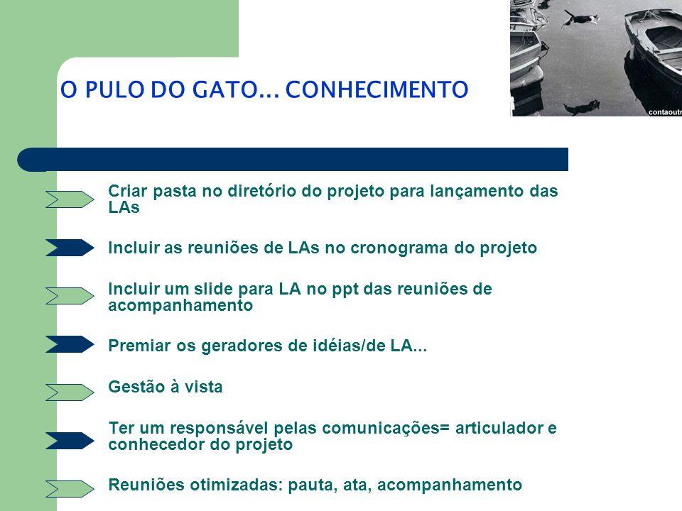Criar pasta no diretório do projeto para lançamento das LAs Incluir as reuniões de LAs no cronograma do projeto Incluir um slide para LA no ppt das re