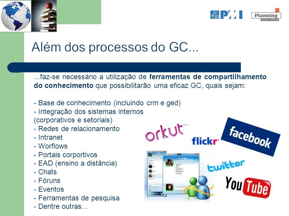 ...faz-se necessário a utilização de ferramentas de compartilhamento do conhecimento que possibilitarão uma eficaz GC, quais sejam: - Base de conhecim