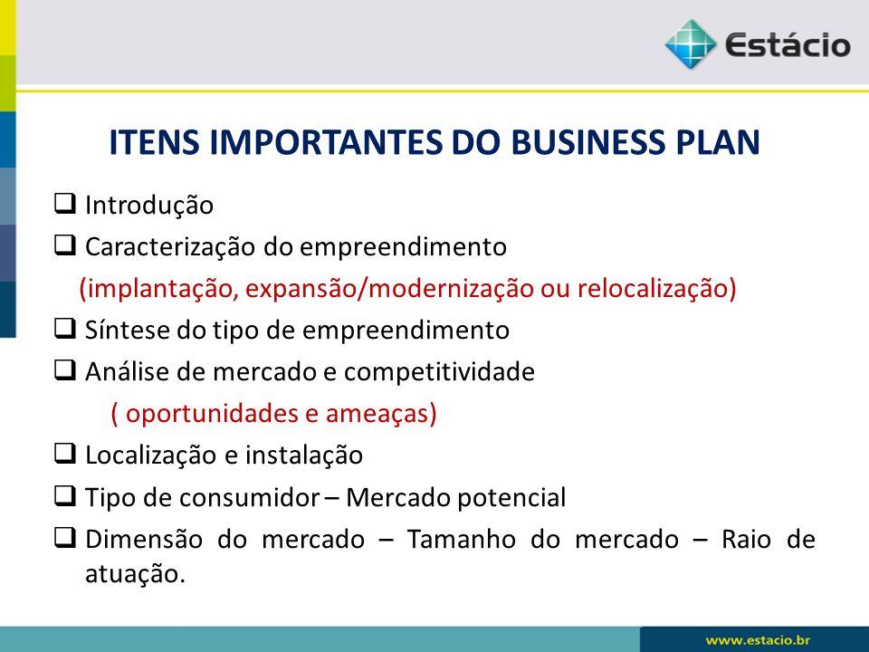 ITENS IMPORTANTES DO BUSINESS PLAN Introdução Caracterização do empreendimento (implantação, expansão/modernização ou relocalização) Síntese do tipo d