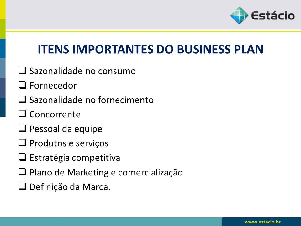 ITENS IMPORTANTES DO BUSINESS PLAN Sazonalidade no consumo Fornecedor Sazonalidade no fornecimento Concorrente Pessoal da equipe Produtos e serviços E