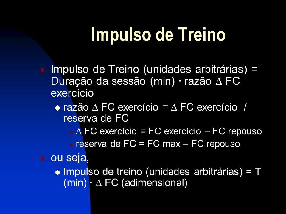Impulso de Treino Impulso de Treino (unidades arbitrárias) = Duração da sessão (min) · razão FC exercício razão FC exercício = FC exercício / reserva de FC FC exercício = FC exercício – FC repouso reserva de FC = FC max – FC repouso ou seja, Impulso de treino (unidades arbitrárias) = T (min) · FC (adimensional)