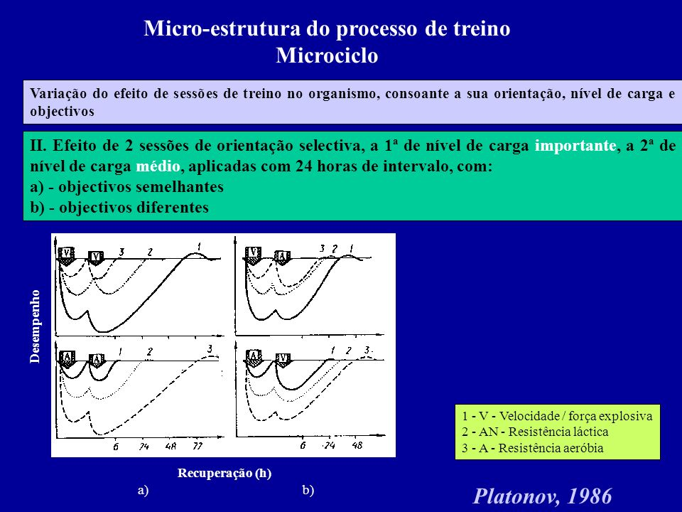 Micro-estrutura do processo de treino Microciclo Variação do efeito de sessões de treino no organismo, consoante a sua orientação, nível de carga e objectivos Platonov, 1986 II.