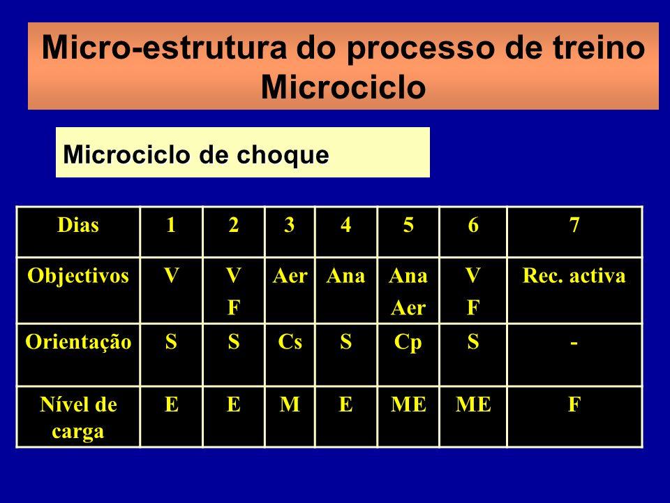 Micro-estrutura do processo de treino Microciclo Dias1234567 ObjectivosVVFVF AerAna Aer VFVF Rec. activa OrientaçãoSSCsSCpS- Nível de carga EEMEME F M