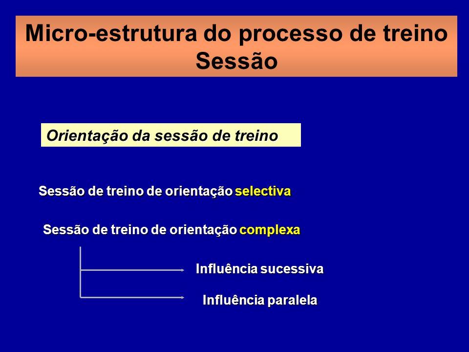 Orientação da sessão de treino Sessão de treino de orientação selectiva Sessão de treino de orientação complexa Influência sucessiva Influência paralela Micro-estrutura do processo de treino Sessão