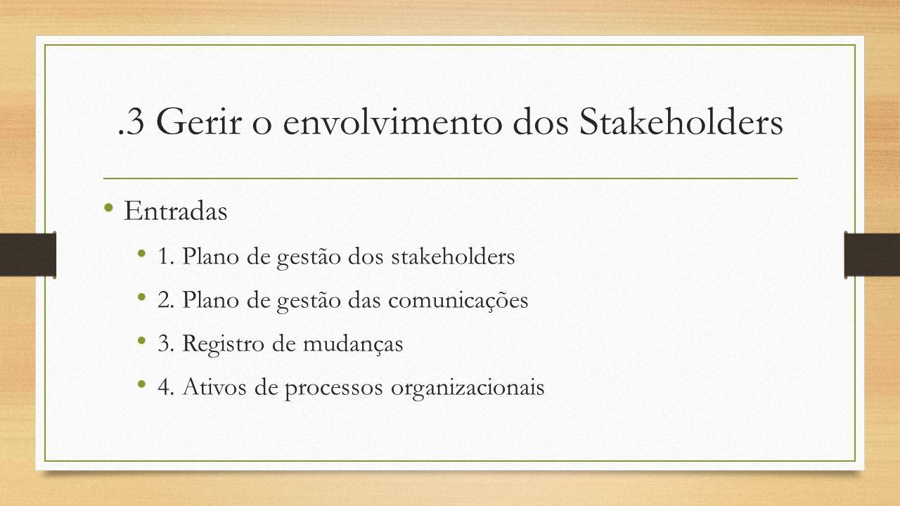 .3 Gerir o envolvimento dos Stakeholders Entradas 1. Plano de gestão dos stakeholders 2. Plano de gestão das comunicações 3. Registro de mudanças 4. A