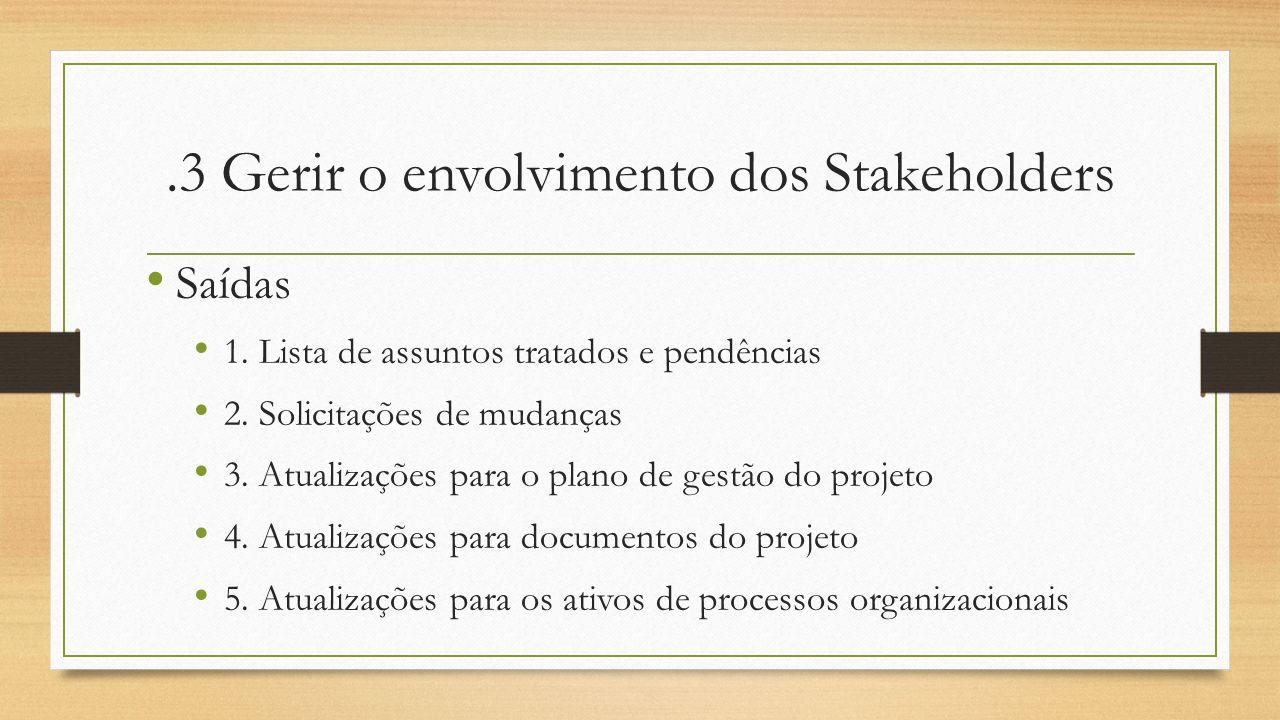 .3 Gerir o envolvimento dos Stakeholders Saídas 1. Lista de assuntos tratados e pendências 2. Solicitações de mudanças 3. Atualizações para o plano de