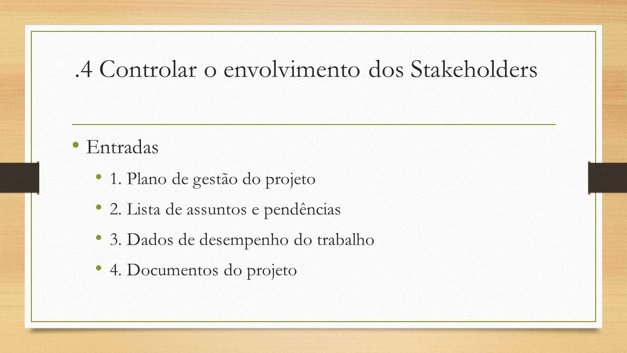 .4 Controlar o envolvimento dos Stakeholders Entradas 1. Plano de gestão do projeto 2. Lista de assuntos e pendências 3. Dados de desempenho do trabal