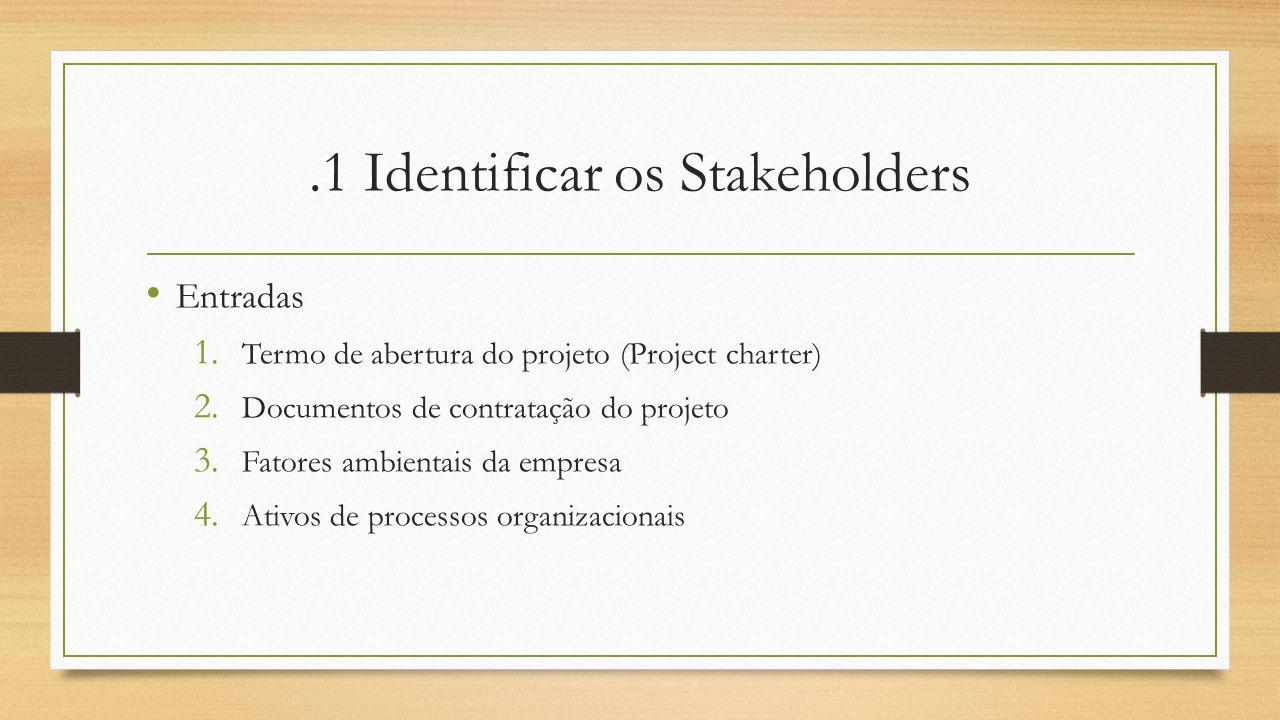 .1 Identificar os Stakeholders Entradas 1. Termo de abertura do projeto (Project charter) 2. Documentos de contratação do projeto 3. Fatores ambientai