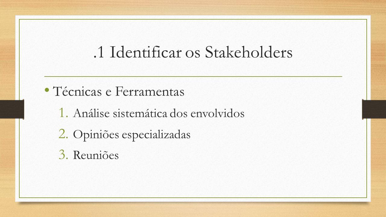 .1 Identificar os Stakeholders Técnicas e Ferramentas 1. Análise sistemática dos envolvidos 2. Opiniões especializadas 3. Reuniões