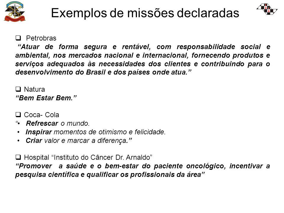 Exemplos de missões declaradas Petrobras Atuar de forma segura e rentável, com responsabilidade social e ambiental, nos mercados nacional e internacio