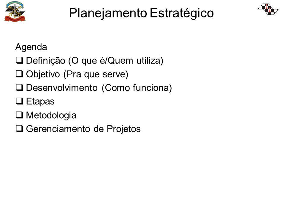Planejamento Estratégico Agenda Definição (O que é/Quem utiliza) Objetivo (Pra que serve) Desenvolvimento (Como funciona) Etapas Metodologia Gerenciamento de Projetos