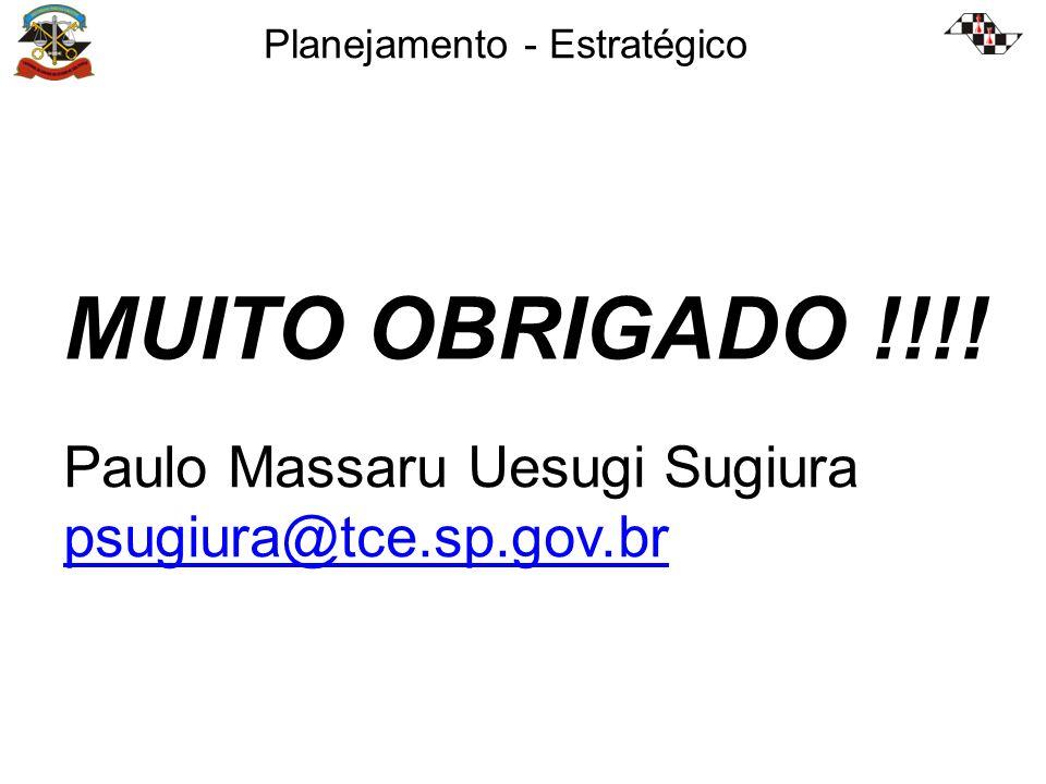 Planejamento - Estratégico Paulo Massaru Uesugi Sugiura psugiura@tce.sp.gov.br MUITO OBRIGADO !!!!