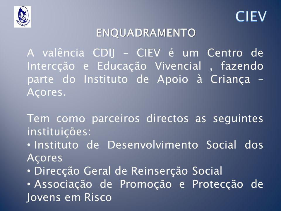 ENQUADRAMENTO A valência CDIJ – CIEV é um Centro de Intercção e Educação Vivencial, fazendo parte do Instituto de Apoio à Criança – Açores. Tem como p