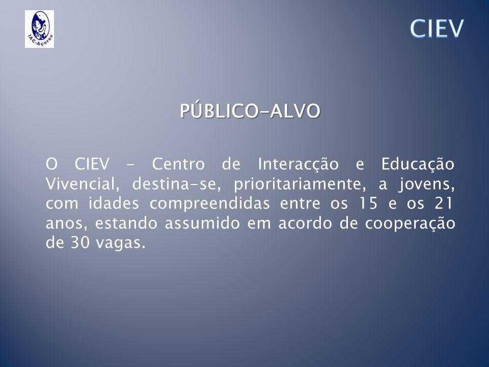 PÚBLICO-ALVO O CIEV - Centro de Interacção e Educação Vivencial, destina-se, prioritariamente, a jovens, com idades compreendidas entre os 15 e os 21