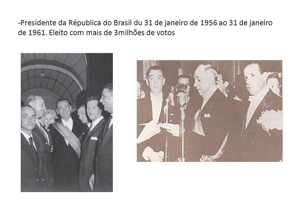 -Presidente da Républica do Brasil du 31 de janeiro de 1956 ao 31 de janeiro de 1961. Eleito com mais de 3milhões de votos