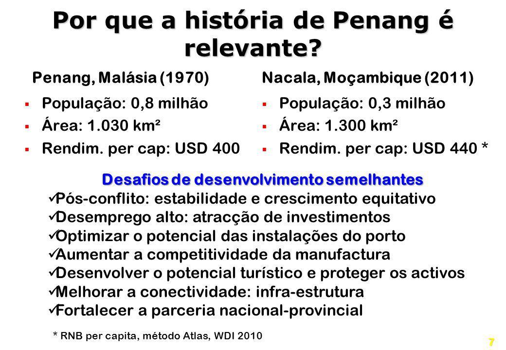 7 Por que a história de Penang é relevante? Penang, Malásia (1970) População: 0,8 milhão Área: 1.030 km² Rendim. per cap: USD 400 Nacala, Moçambique (