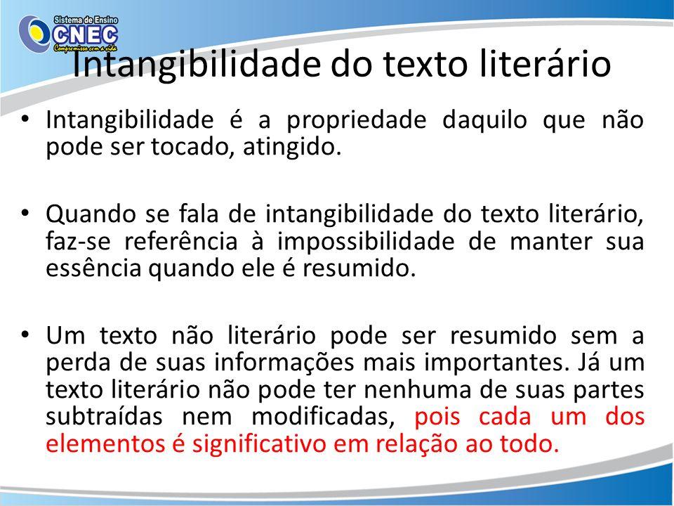 Intangibilidade do texto literário Intangibilidade é a propriedade daquilo que não pode ser tocado, atingido. Quando se fala de intangibilidade do tex