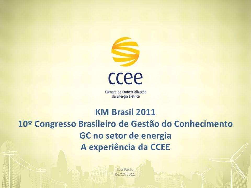 KM Brasil 2011 10º Congresso Brasileiro de Gestão do Conhecimento GC no setor de energia A experiência da CCEE São Paulo 06/10/2011