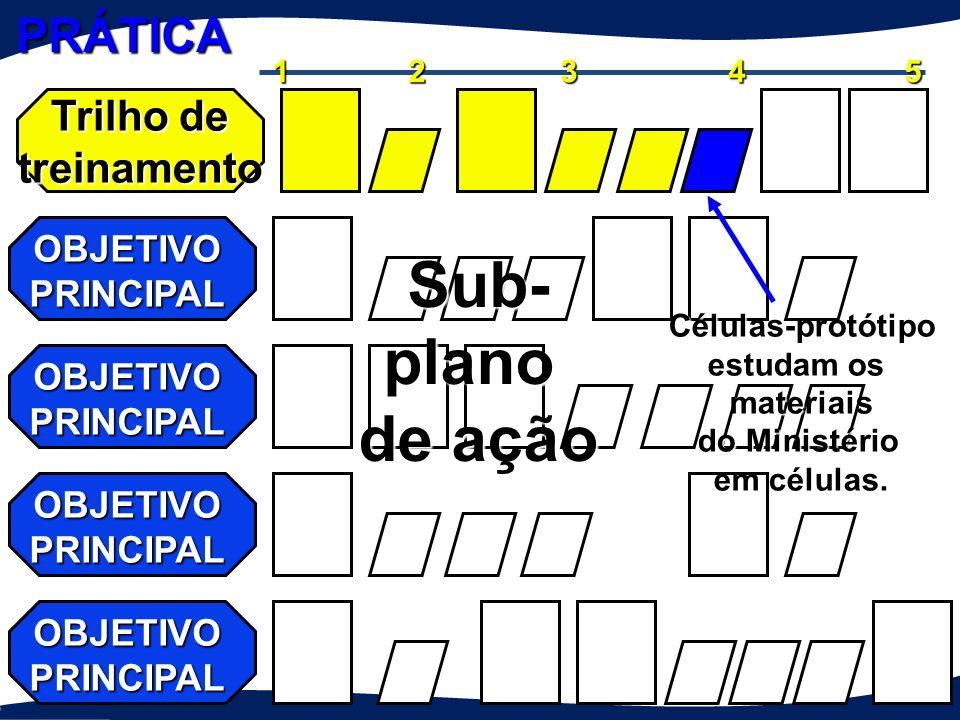 Trilho de treinamento OBJETIVO PRINCIPAL 12345 Líderes estudam os materiais. Sub-plano de ação Testar os materiais do Ministério em células PRÁTICA