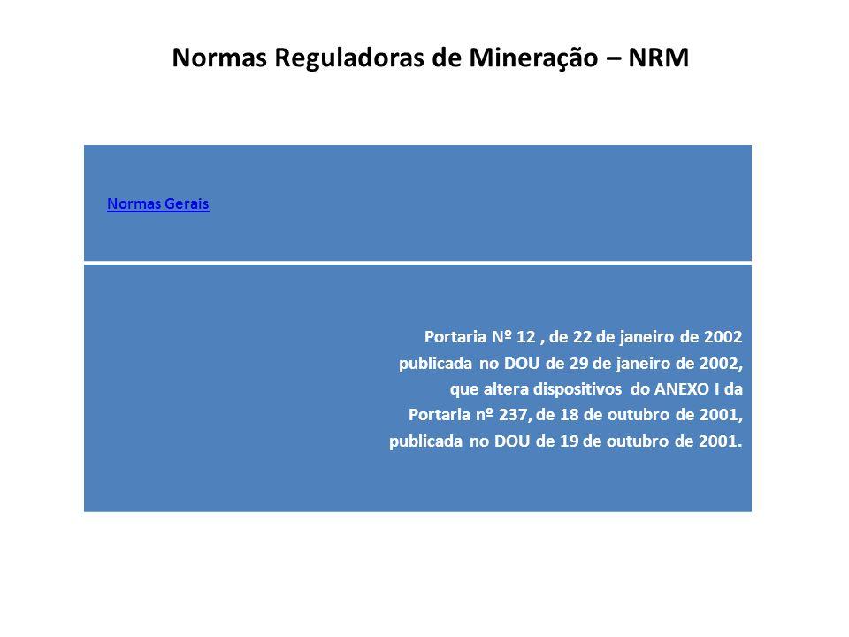Normas reguladoras da Mineração - NRM Código de Mineração – Decreto-Lei nº 227/67 Regulamento do Código de Mineração: Decreto 62.934/68 Alterações: Decretos-Lei 318/67; 330/67; 1.038/69 Alterações: Leis 6.043/76; 6.567/78 (Licenciamento); 7.805/89; 7.990/89; 8.001/90; 8.383/91; 8.876/94; 8.982/95; 9.