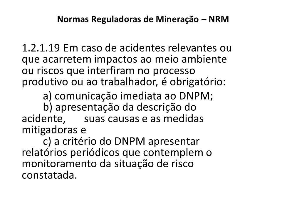 Normas Reguladoras de Mineração – NRM 1.2.1.19 Em caso de acidentes relevantes ou que acarretem impactos ao meio ambiente ou riscos que interfiram no