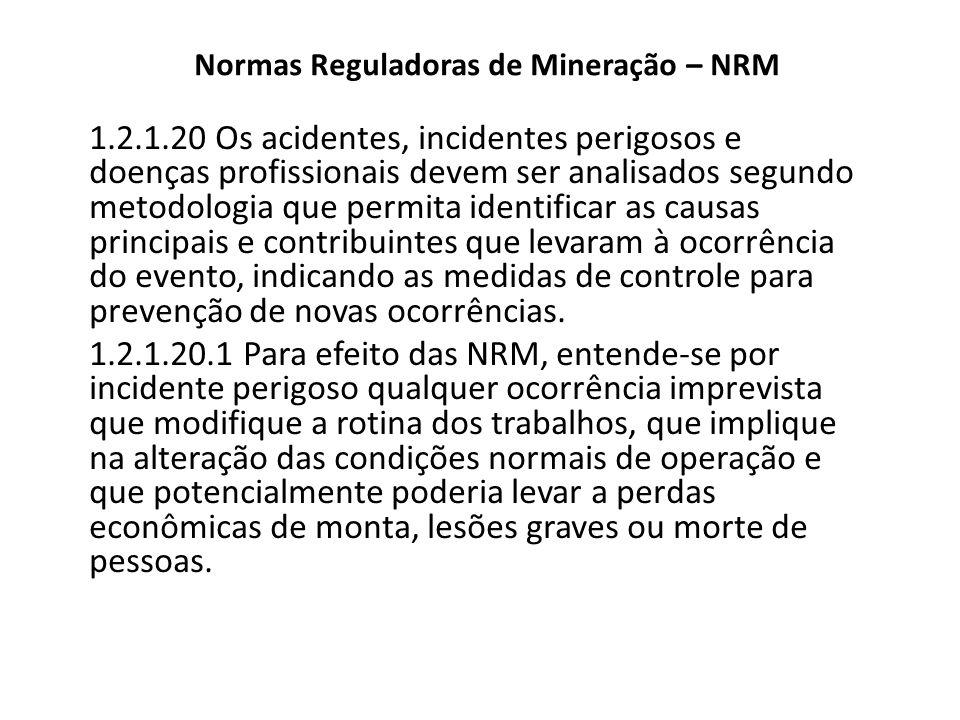 Normas Reguladoras de Mineração – NRM 1.2.1.20 Os acidentes, incidentes perigosos e doenças profissionais devem ser analisados segundo metodologia que