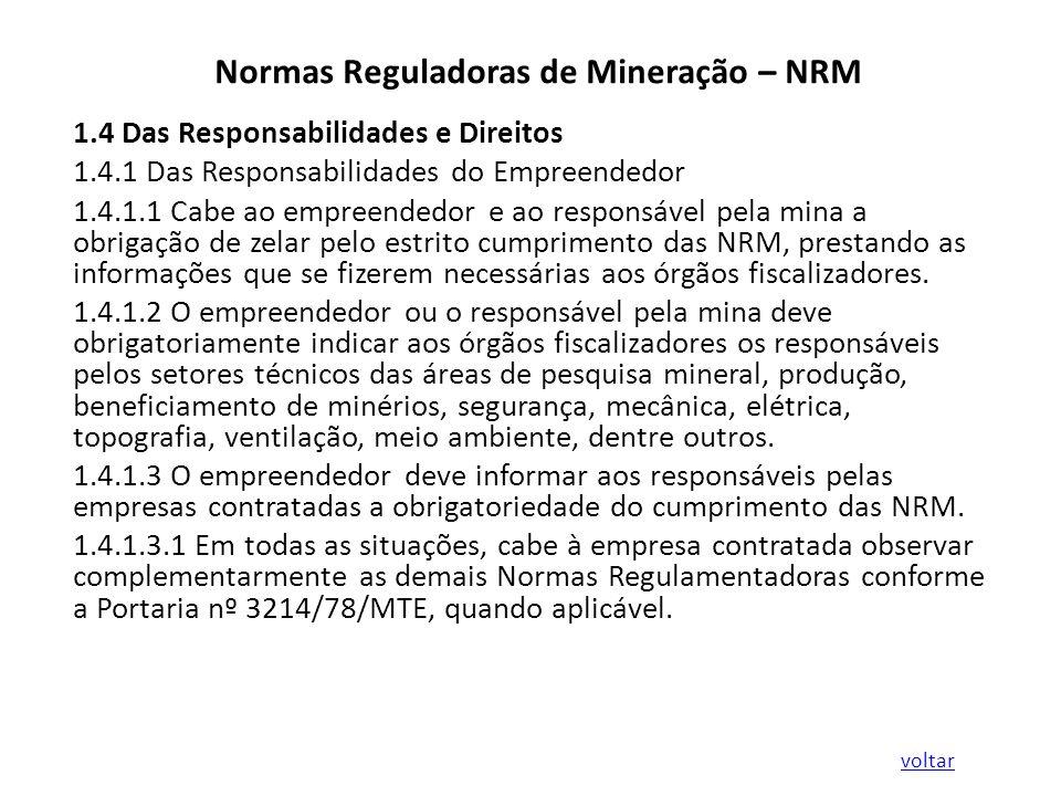 Normas Reguladoras de Mineração – NRM 1.4 Das Responsabilidades e Direitos 1.4.1 Das Responsabilidades do Empreendedor 1.4.1.1 Cabe ao empreendedor e