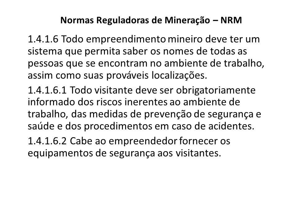 Normas Reguladoras de Mineração – NRM 1.4.1.6 Todo empreendimento mineiro deve ter um sistema que permita saber os nomes de todas as pessoas que se en