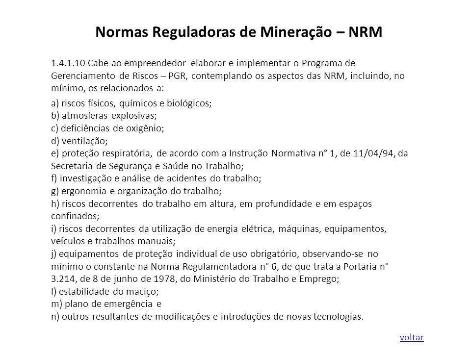 Normas Reguladoras de Mineração – NRM 1.4.1.10 Cabe ao empreendedor elaborar e implementar o Programa de Gerenciamento de Riscos – PGR, contemplando o