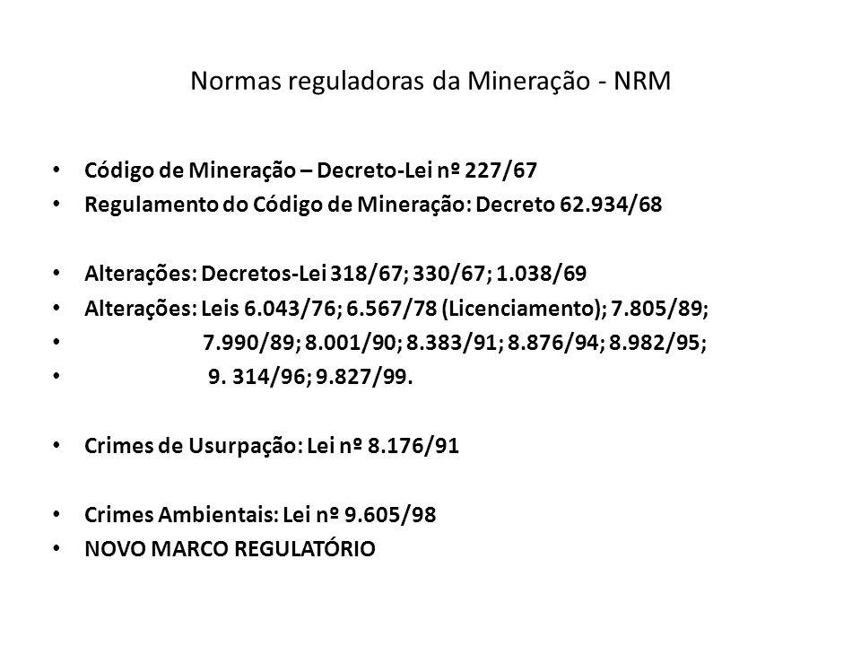 Normas Reguladoras de Mineração – NRM 1.3 Aplicação 1.3.1 As NRM aplicam-se a todas as atividades de pesquisa mineral, lavra, lavra garimpeira, beneficiamento de minérios, distribuição e comercialização de bens minerais, na forma do CM e legislação correlativa.CM