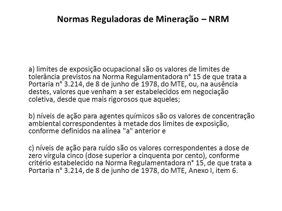Normas Reguladoras de Mineração – NRM a) limites de exposição ocupacional são os valores de limites de tolerância previstos na Norma Regulamentadora n