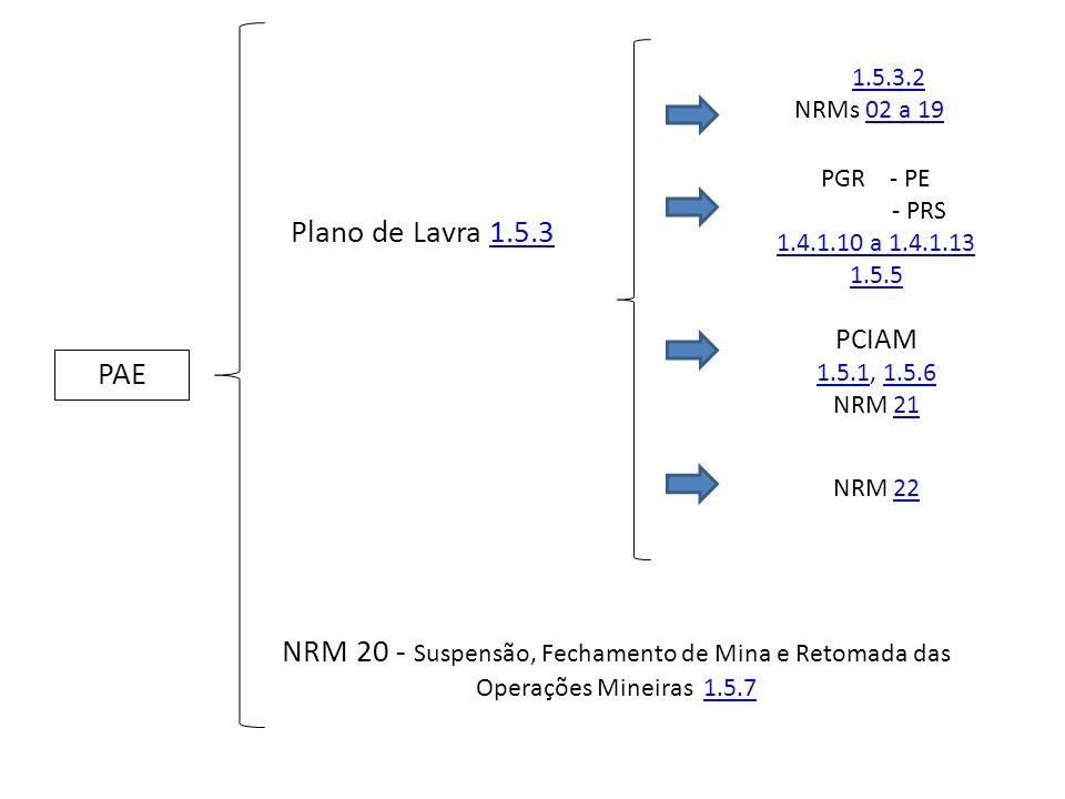 PAE Plano de Lavra 1.5.31.5.3 PGR - PE - PRS 1.4.1.10 a 1.4.1.13 1.5.5 PCIAM 1.5.11.5.1, 1.5.61.5.6 NRM 2121 1.5.3.2 NRMs 02 a 1902 a 19 NRM 2222 NRM